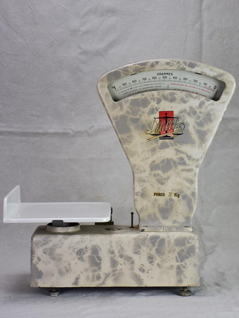 Set of mid century French epicerie scales with faux marble enamel