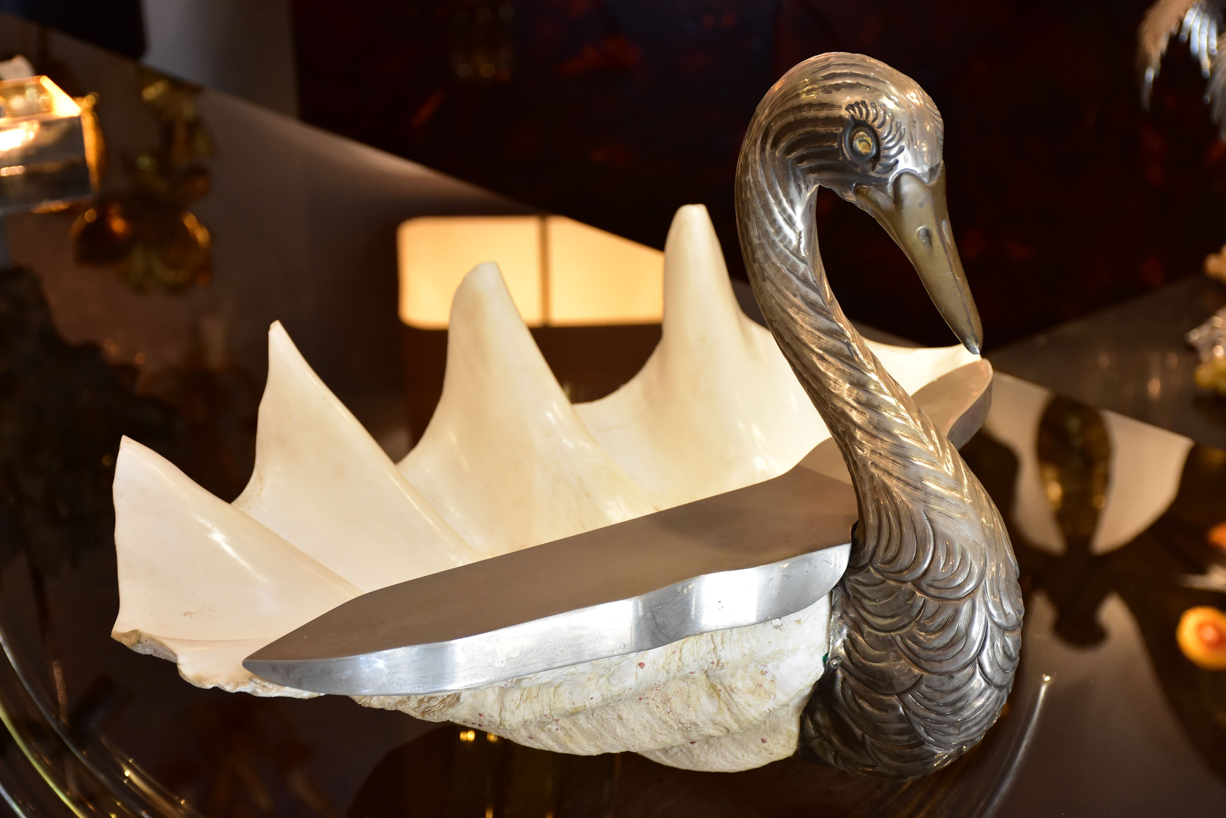 Giant clamshell swan by Gabriella Binazzi