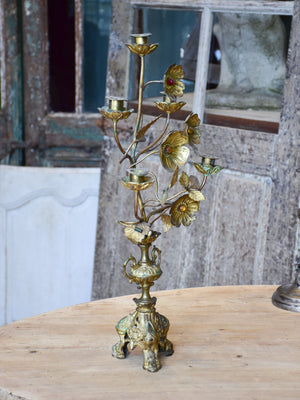 Antique French candelabra with flowers