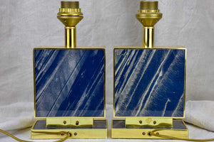 Pair of vintage Le dauphin lamp bases - navy blue lucite, gold, rectangular