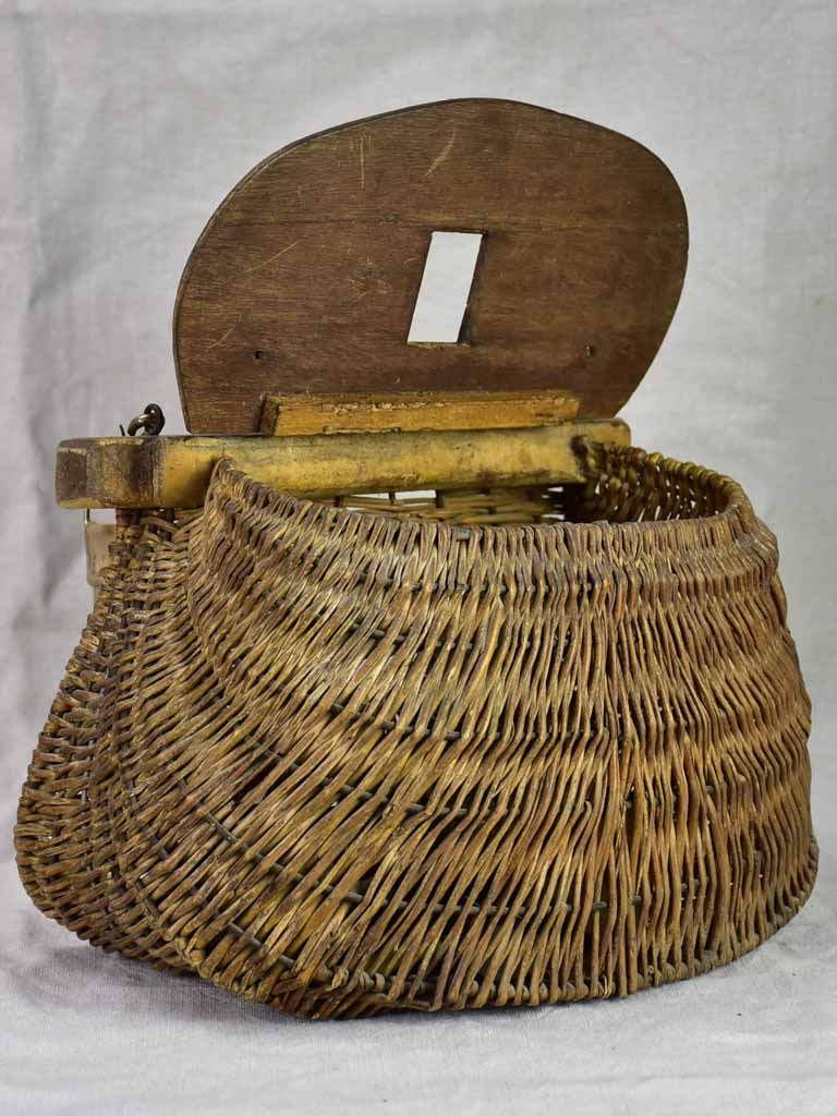 Antique French fishing basket - woven with leather strap