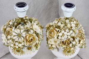 Pair of vintage flower bouquet lamp bases