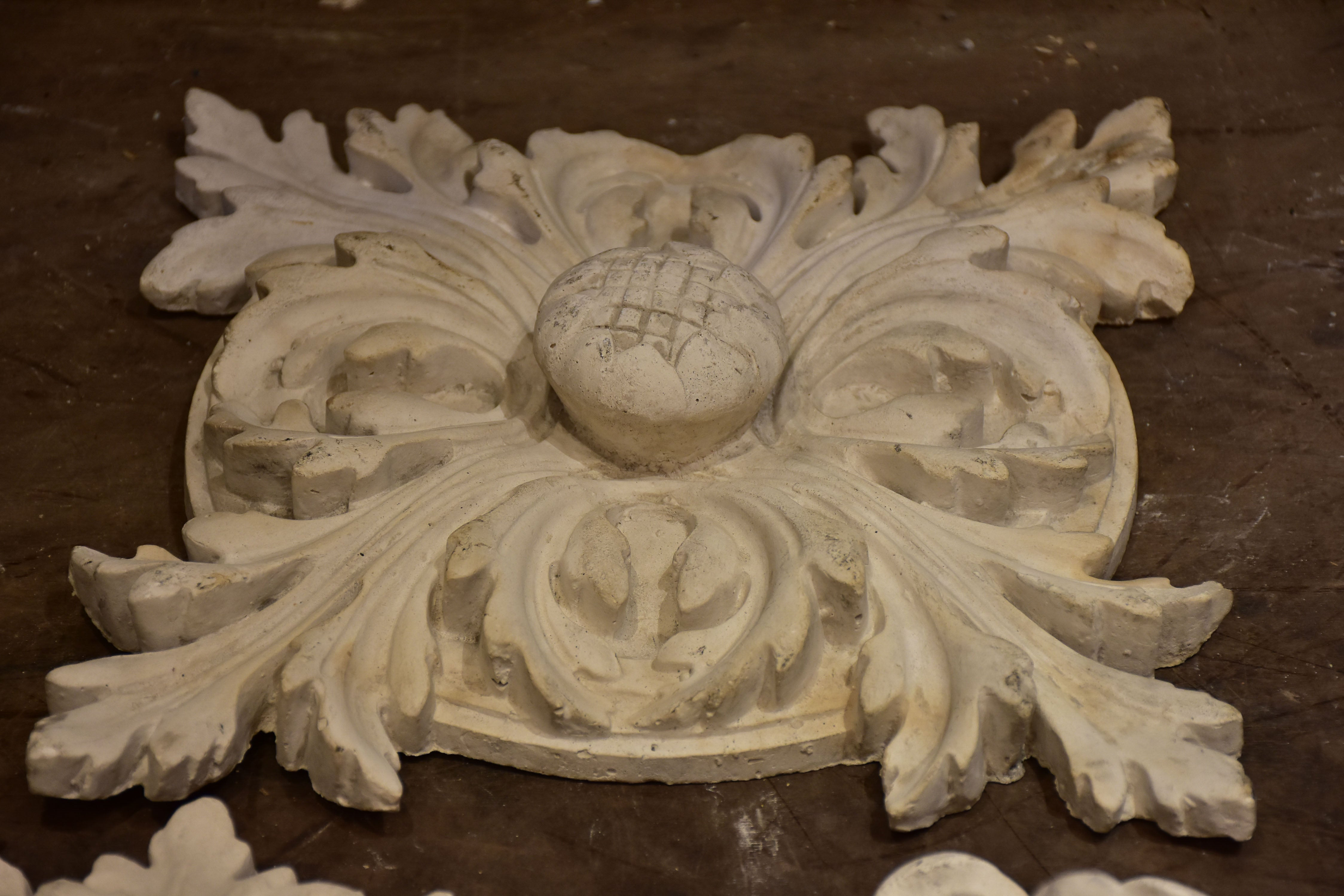 Three antique French plaster ceiling roses