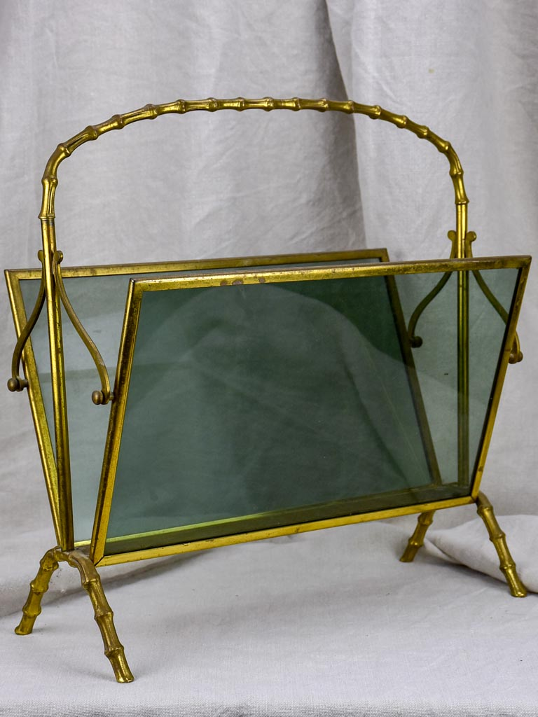 1970's Maison Bagues bamboo and smoke glass magazine stand