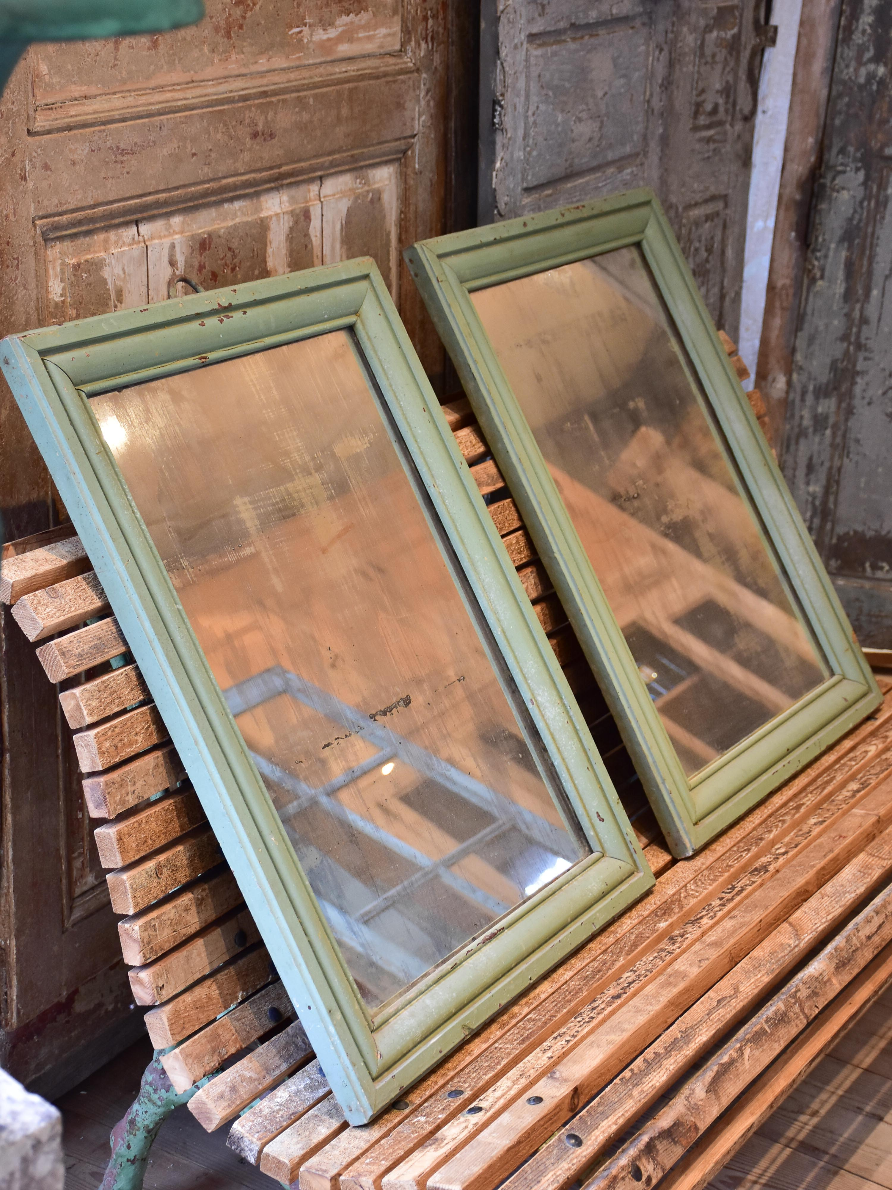 Pair of of French bistro mirrors with green frames