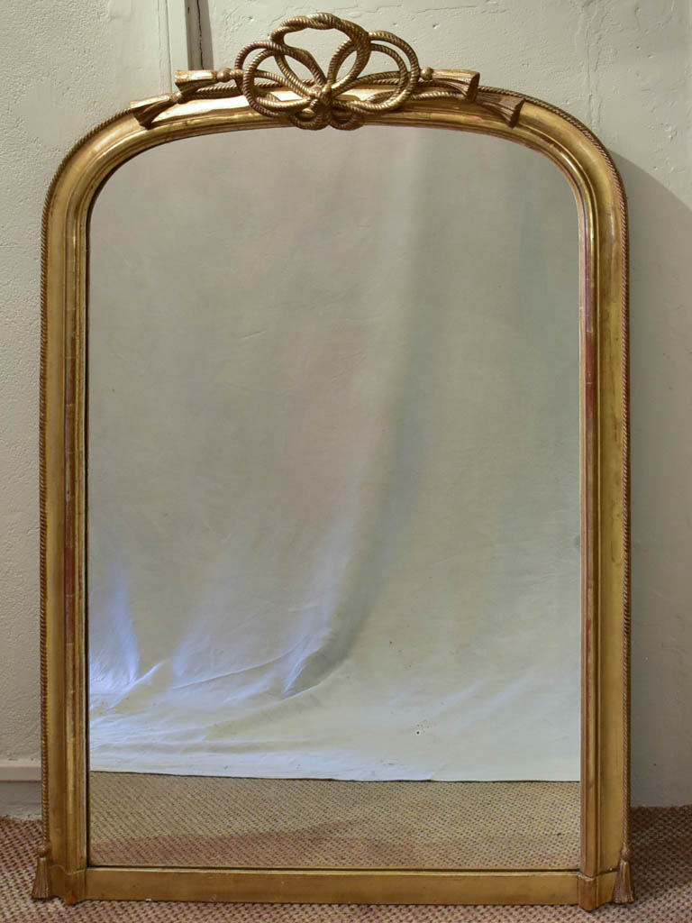 "Rare Napoleon III gilt mirror with sculptural rope crest 38¼"" x 56¼"""