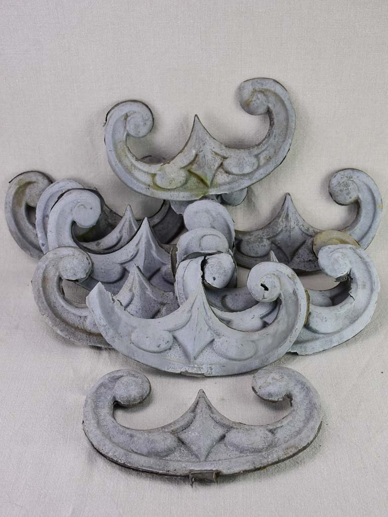Collection of 10 salvaged French zinc elements - 19th century 9""