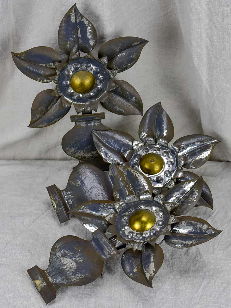 Three 1960's tole wall sconces - flowers