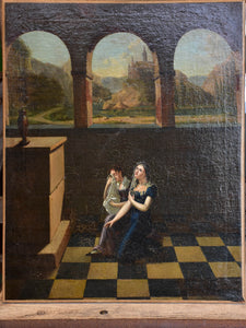 Antique painting of two weeping women 19 ¾'' x 24 ½''