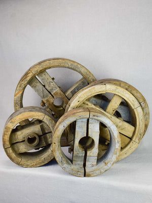 "Reserved for AB Collection of 5 rustic wooden agricultural machinery elements - 19th century 10¾"" - 19¾"""