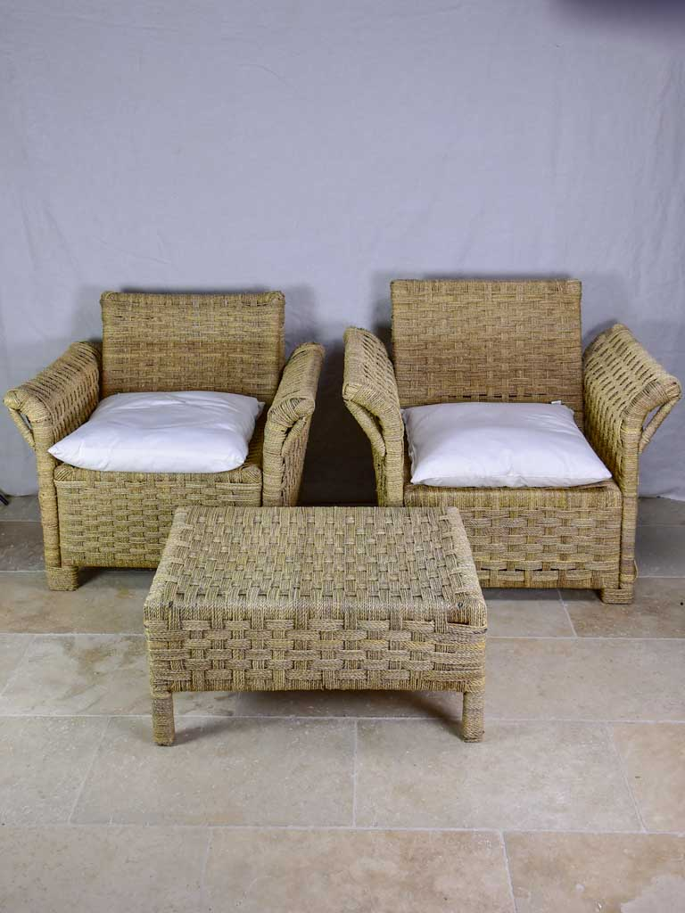Two vintage rope armchairs and an ottoman