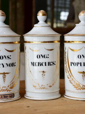 Set of seven French porcelain apothecary jars