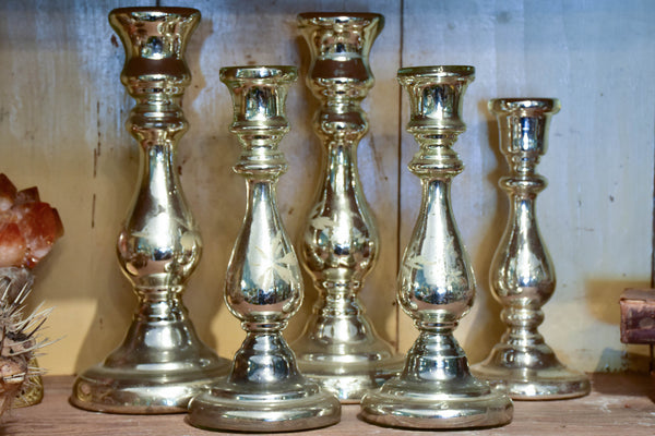 19th Century French mercury glass candlesticks