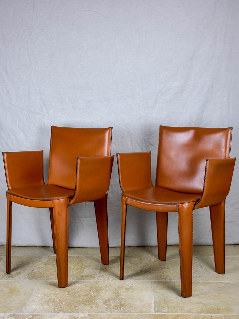 Pair of vintage Italian Quia tan leather armchairs (12 available)