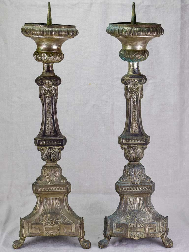 Pair of large antique French church candlesticks 28""