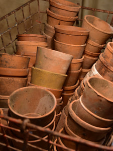 Collection of antique terracotta French garden pots – petite