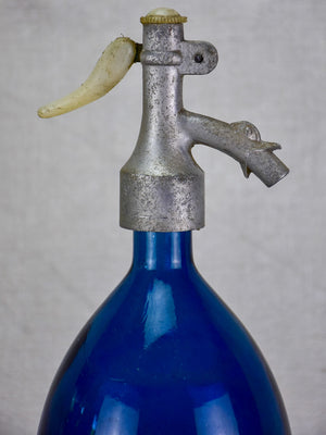 Early 20th Century cobalt blue Seltzer siphon