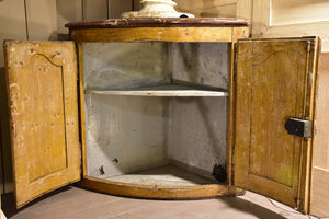 18th century Provencal curved corner cabinet with marble top