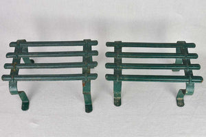 "Pair of cast iron foot rests from the 19th century with green patina 8¾"" x 11¾"""