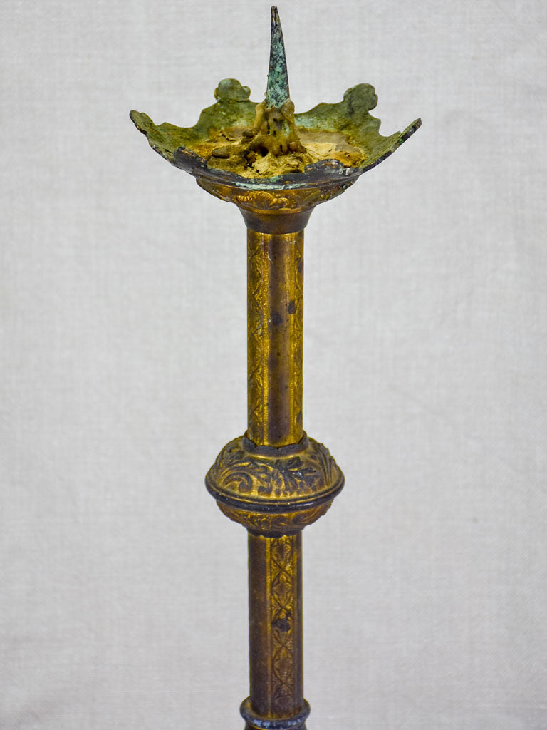 19th Century French bronze candlestick with leaf motifs 18""