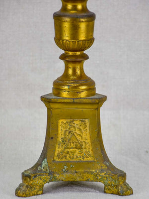 19th Century French bronze candlestick with sun motifs and angel 18""