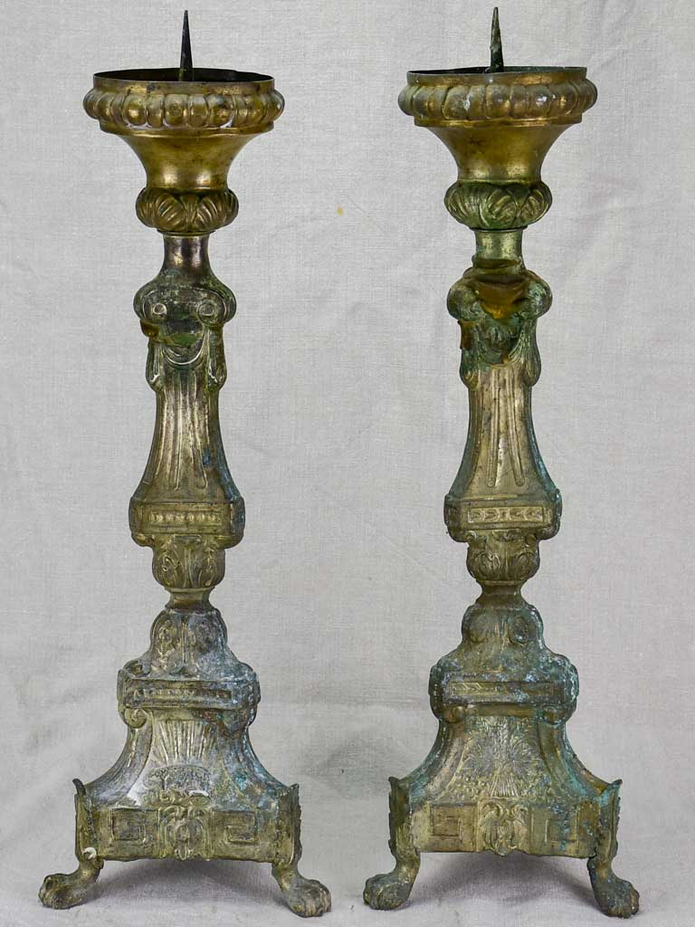 Pair of 19th century French candlesticks from a church 23¾""