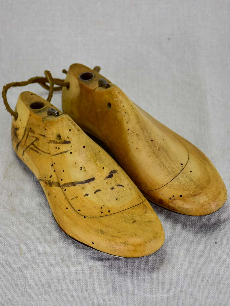 Pair of 1950's French wooden shoestays