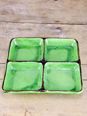 Collection of vintage Dieulefit ceramics with green glaze