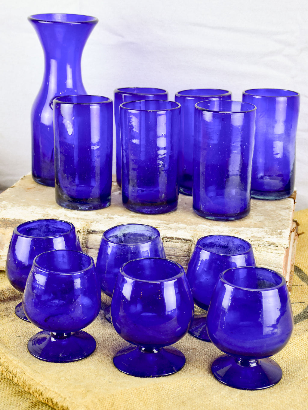 Collection of cobalt blue glassware from Biot, France