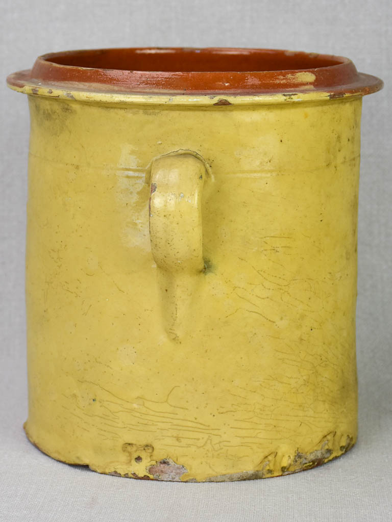 19th century French Provincial preserving pot with two handles 8""