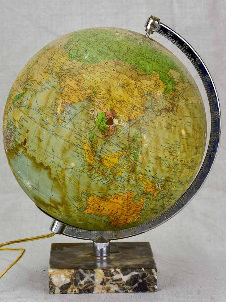 Mid century French world globe lamp with marble base