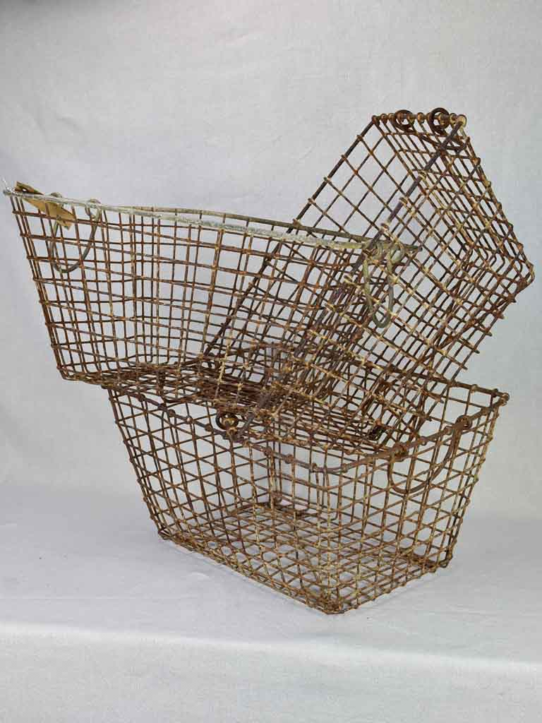 "Collection of three antique French oyster baskets 15¼"" x 19¾"""
