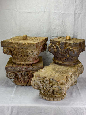 Antique salvaged column capital - double