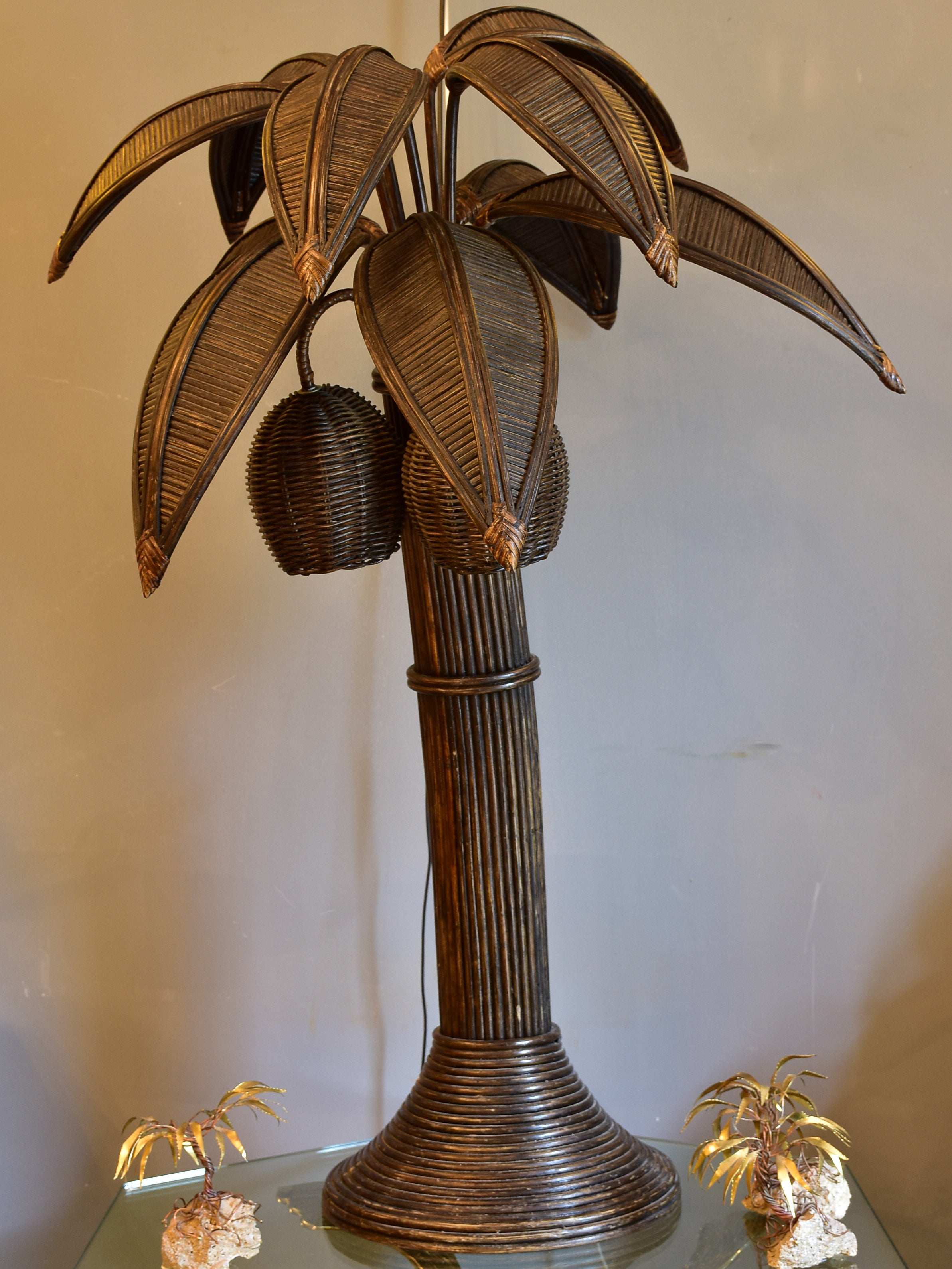 Vintage coconut palm tree lamp in rattan