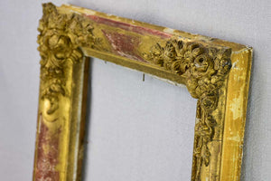 Rustic 19th Century French frame with pretty roses