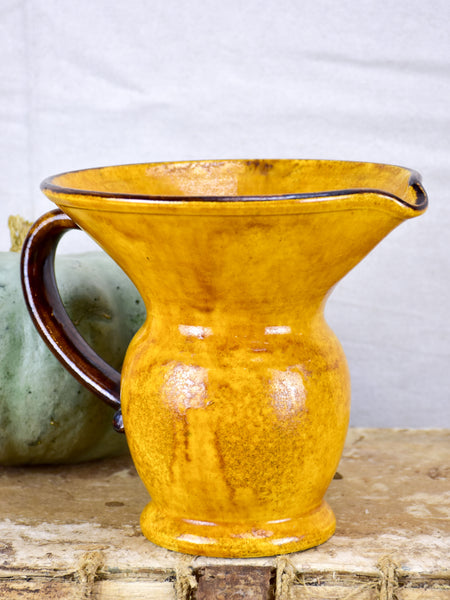 Vintage French pitcher / vase with orange glaze
