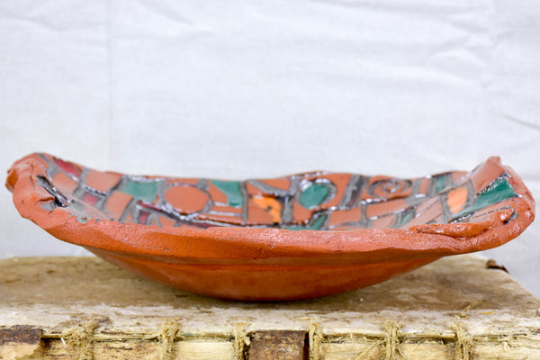 Vintage French clay fruit bowl
