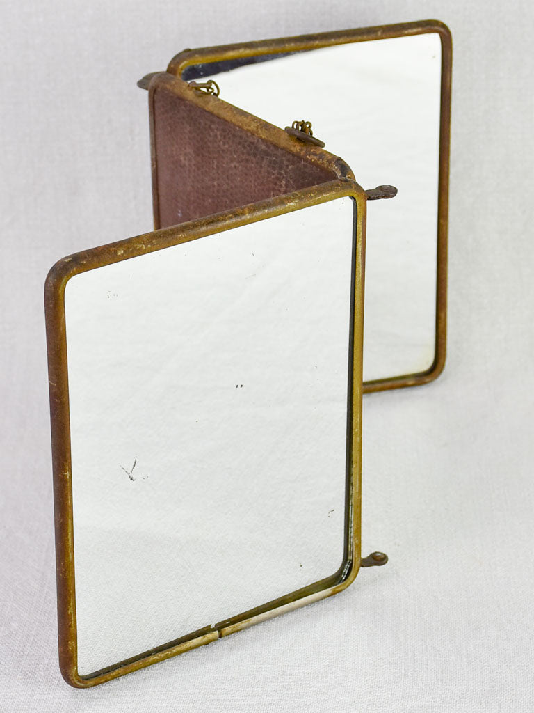 Early twentieth-century French barber's mirror with three panels 8¾""