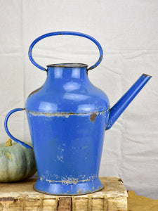 Vintage French watering can - blue enamel