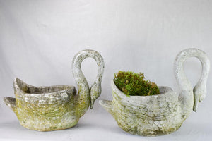 Pair of mid-century French swan garden planters
