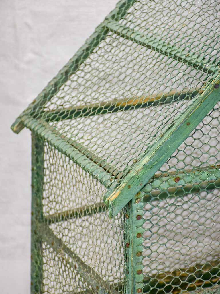 Rustic antique French birdcage with green patina 23¾""