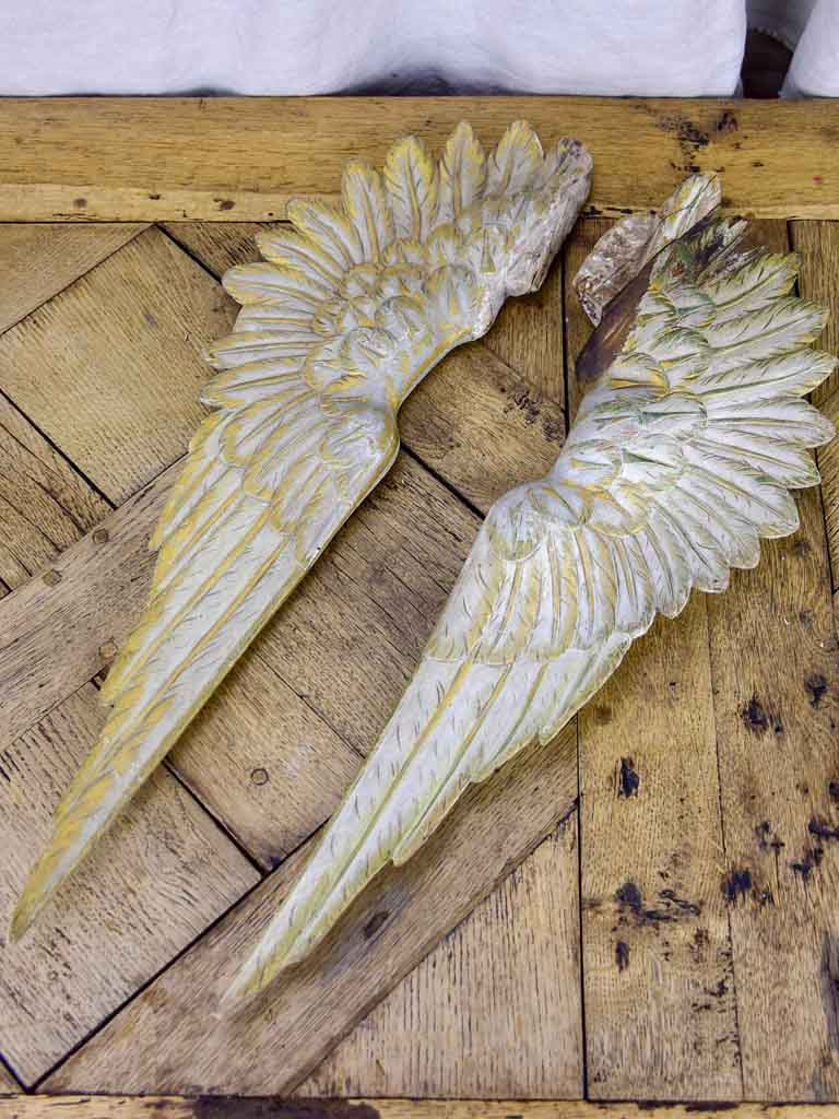 Pair of antique French carved angel wings