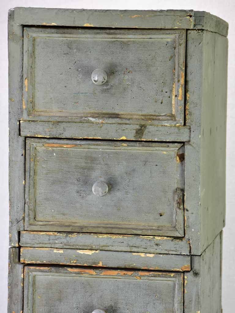 Set of rustic French drawers from a workshop with taupe patina 35¾""