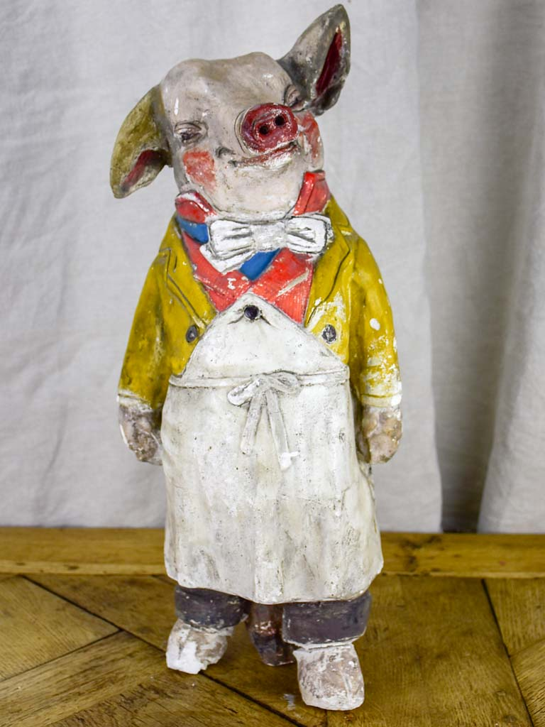 Antique French pig from a butcher's shop - plaster 21¼""
