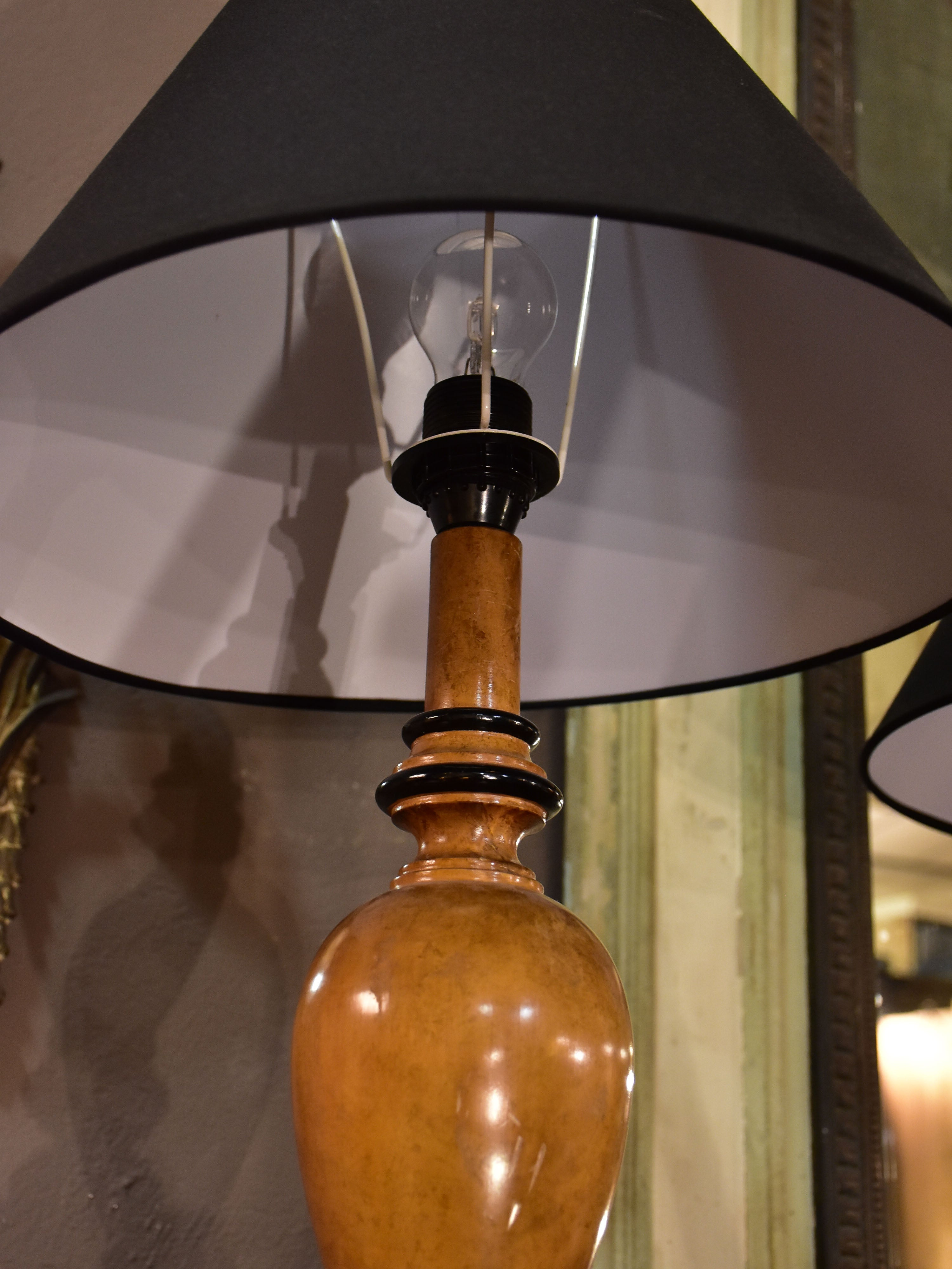 Pair of Lotihier style lamps with burr walnut bases