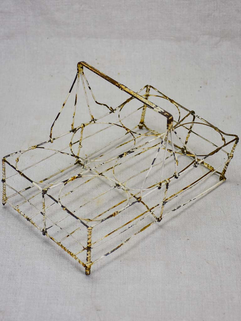 Antique French wire basket - six glass capacity
