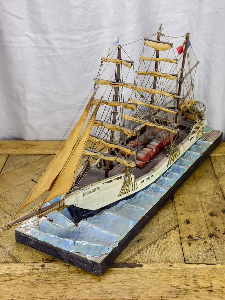 Antique French model boat, 'Vigilante' - ex voto