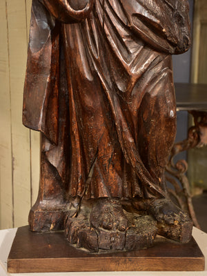 17th century sculpture of Saint Pierre - lime wood