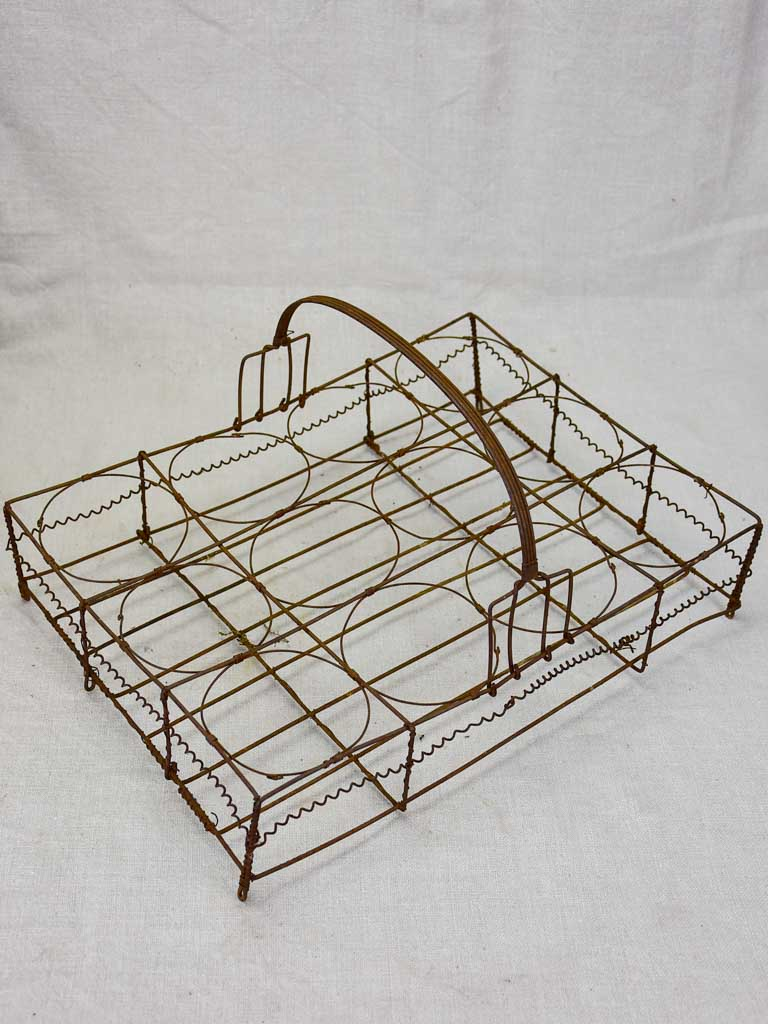Antique French wire basket - twelve jar capacity