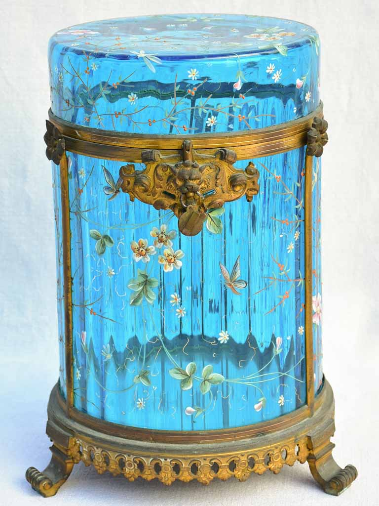 Large 19th Century Italian biscuit jar  with hand-painted blue glass 13½""